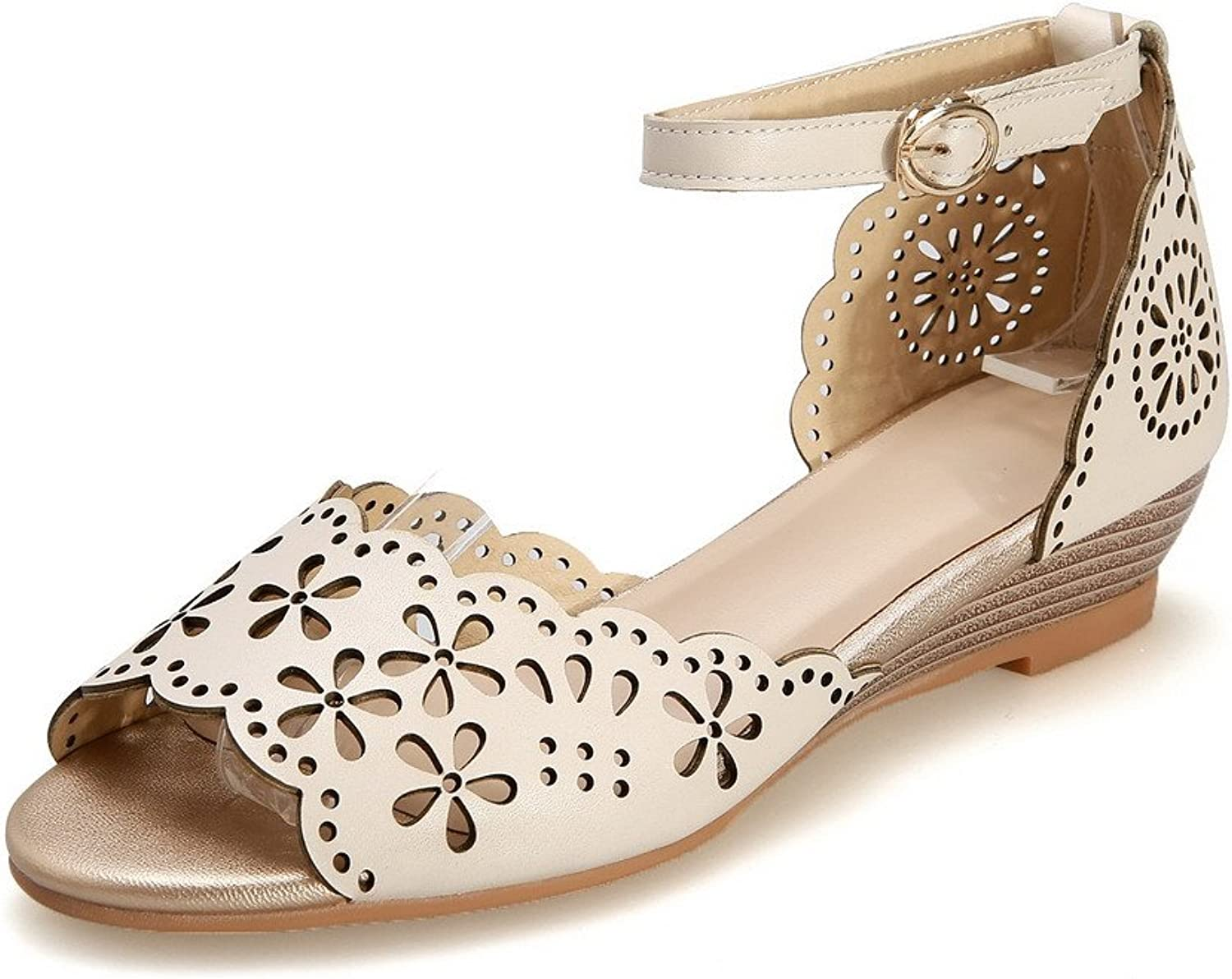 AllhqFashion Women's Buckle Open Toe Low Heels Cow Leather Solid Sandals