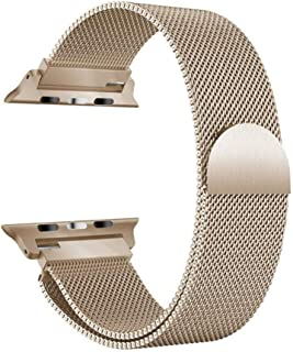Milanese Loop for Apple Watch 44mm 42mm, Stainless Steel Alloy Replacement Watch Band for iWatch Series 4/3/2/1 (Vintage Gold)