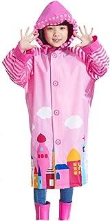 Kids Girls Hooded Rain Poncho Waterproof Raincoat Cover Long Rainwear
