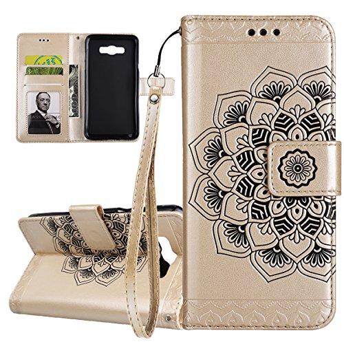 ISAKEN Compatibile con Samsung Galaxy J7 2016 Custodia Cover, Libro PU Pelle Wallet Cover Flip Portafoglio Protezione Custodia con Supporto di Stand/Carte Slot/Strap[Shock-Absorption], Fiori: Oro