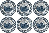 Johnson Bros Old Britain Castles - Juego de 6 platos de cena (25 cm, segunda calidad), color azul