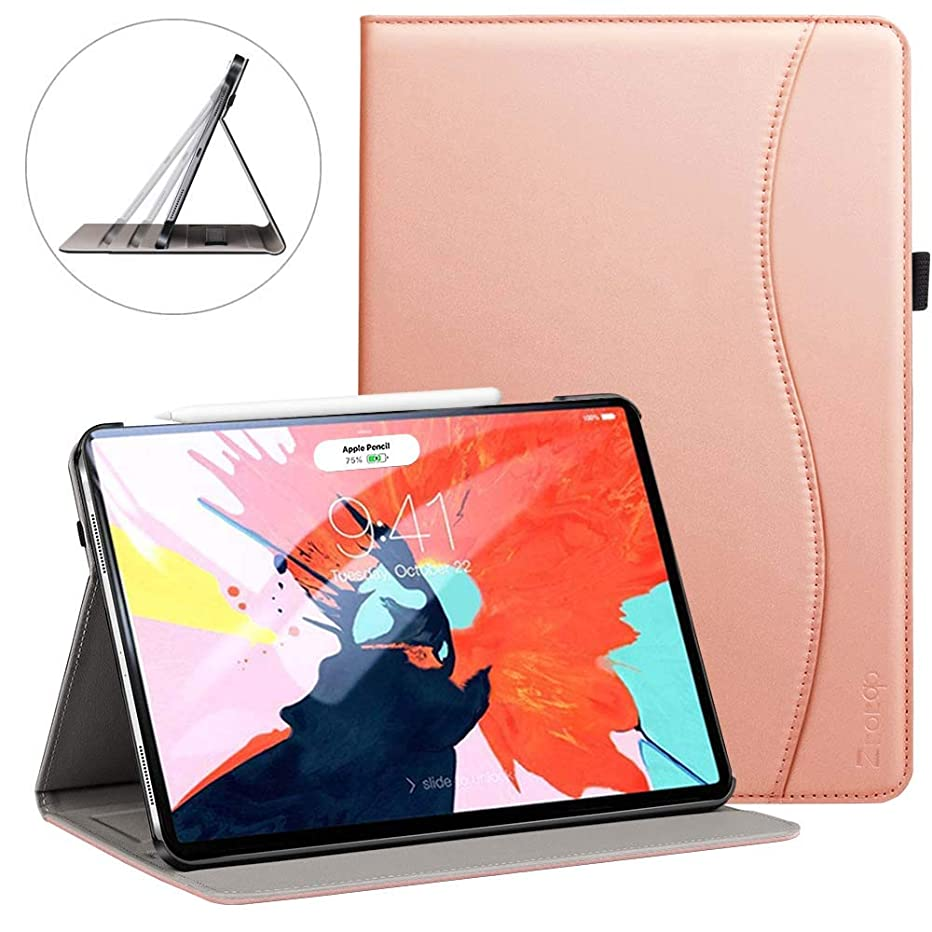 Ztotop for iPad Pro 12.9 Case 2018, Leather Folio Stand Case Front Smart Cover and Hard Back Shell for 2018 iPad Pro 12.9-inch 3rd Generation (Latest Model) with Auto Sleep/Wake - Rose Gold