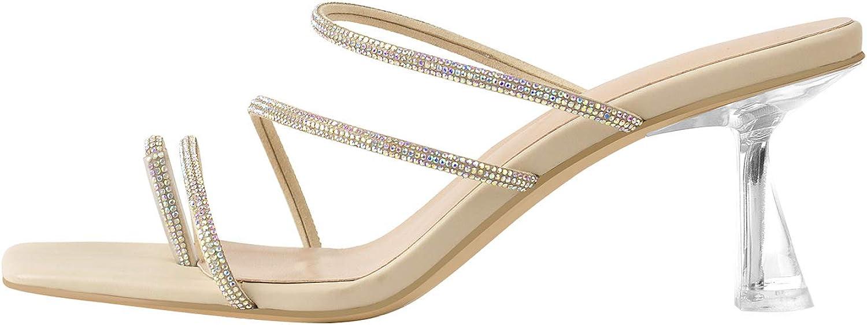 LISHAN Women's Toe Ring Sparkly Rhinestone Slipper