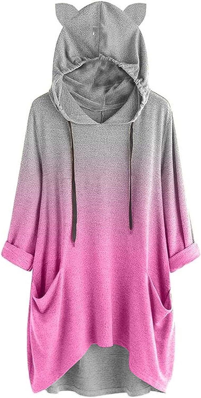 Women Lightweight Hooded Pullover Sweatshirts, Fashion High Low Fall Casual Drawstring Blouse Vintage Gradient Tshirts