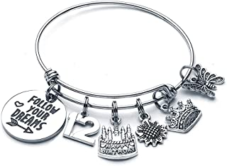 Birthday Gifts for Women Girls Bracelet, Happy Birthday Charm Bracelets for Women 10th 11th 12th 16th 20th 21st 30th 40th 50th 60th 70th 80th 90th Birthday Gifts for Mom Daughter Grandma Wife Friend