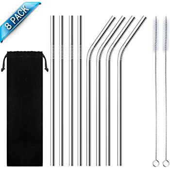 Stainless Steel Straw, Reusable Metal Drinking Straws 8.5 inch with Cleaning Brush and Silicon Tips for 20oz/ 30oz Tumblers Rumblers Cold Beverage (8 Pack) (White)