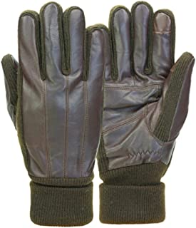 Mens Cuffed Brown Leather Touchscreen Text & Tech Gloves Thinsulate