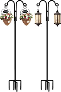 Double Shepherds Hook, STAUKOK 76 Inch Bird Feeder Pole with 5 Prongs Base, Heavy Duty Garden Hook for Hanging Plant, Lantern, Hummingbird Feeder (2 Pack)