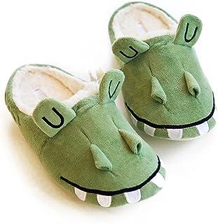 HALLUCI Women`s Wicky Crocodile Style Cozy Fleece Memory Foam House Trick Treat Halloween Slippers