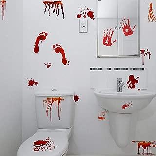 Halloween Bloody Handprints Footprints Decals, Zombie Hunter Scary Bloodstains Sticker for Living Room, Door, Windows Decor, Halloween Party Decoration