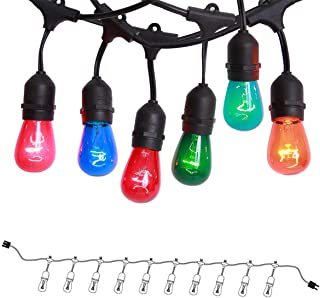 ONO-Tech Commercial Grade Outdoor, Indoor String Lights Strand 10 E26 Hanging Sockets, Include 12-Pack S14 Colorful Incandescent Bulb Deck Yard Cafe Pergola Party Tents Market Patio Gazebo