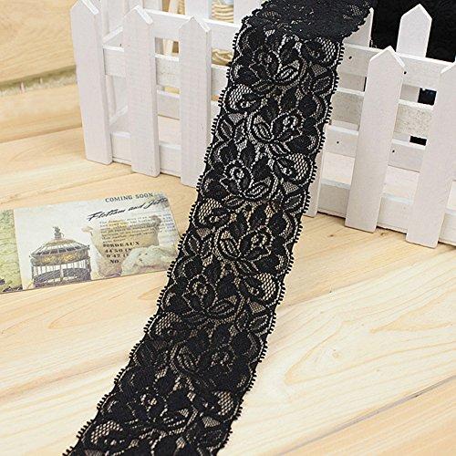 Lace Elastic Ribbon, Vintage Stil Spitze trimmen Bridal Hochzeit Zierrand Kleidung Decor DIY 100x 6,5cm Free Size Schwarz