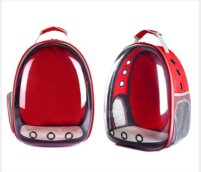 LLYU Pet cat Bag pet Out Bag Transparent Backpack Portable Dog Bag Space Capsule cat Bag (color   RED)