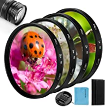 52mm Close-up Filter Kit 4 Pieces(+1,+2,+4,+10) Macro Filter Accessory Close-up Lens Filter Kit Set with Lens Filter Pouch for Canon Nikon Sony Pentax Olympus Fuji DSLR Camera+Lens Cap