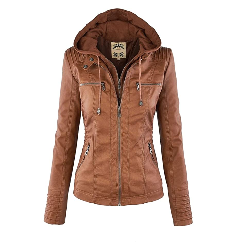 宙返り率直な委員会ファッション Classic Style Womens Lapel Long Sleeves Leather Zipper Jackets with Quality Removable