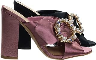 Satin Baroque Block Heel Mule Sandal w Embellished Crystal & Pearl
