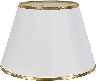 DULEE 12'' E27/E14 Screw Tela Pantalla de Lámpara de Pie Mesa y Lámpara de Noche,(Top) 18cm x (Altura) 20cm x (Fondo) 30cm,Blanco con Borde Dorado