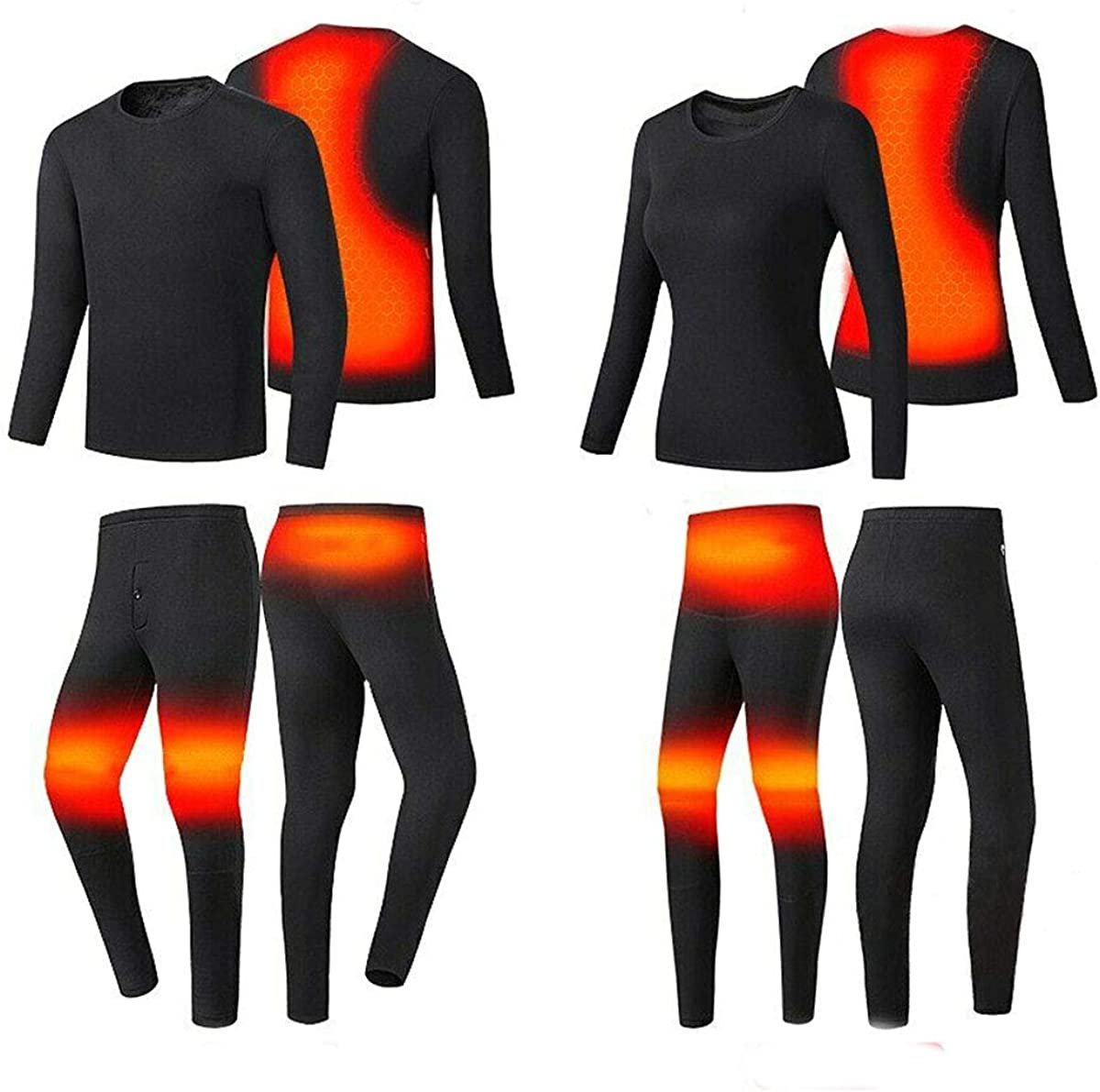 MYCHANNEL Heated Underwear Top + Heated Pant for Men & Women Insulated Washable USB ElectricThermal Long Sleeve Breathable