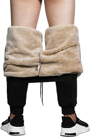 MANLUODANNI Men's Casual Fleece Jogger Sweatpants Men Winter Warm Plush Trousers