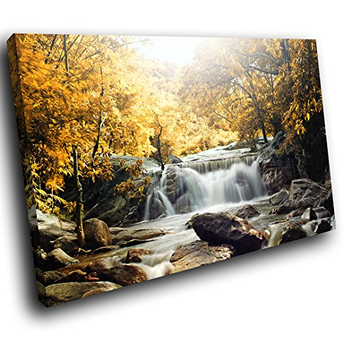 SC438SC Framed Canvas Prints Colourful Wall Art - Yellow Forest Waterfall Cool - Modern Scenic Living Room Bedroom Piece Home Decor Interior Design Easy Hang Guide