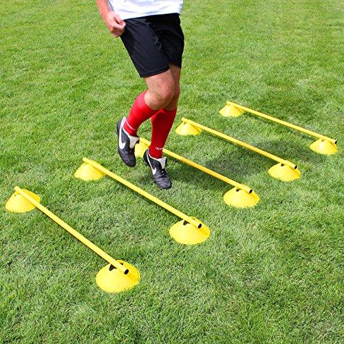 Superspieler24 Mini-Hürden 5er Set, gelbe Markiermulden und gelbe Stangen 100 cm, für Fußballtraining