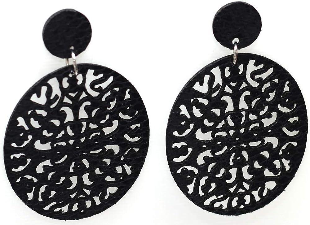 Womens Faux Leather Filigree Round Dangle Earrings