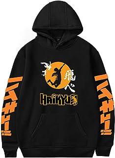 Haikyuu Hoodie Cosplay Costume Graphic Printing Unisex Hooded Sweatshirts Jumpers for Teens/Men's/Women's (Color : Black ...