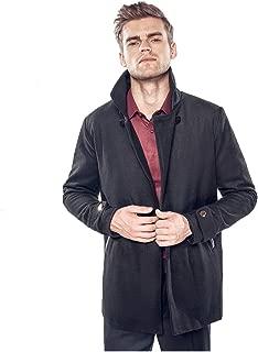 VEZAD Store Men's Trench Coat Long Wool Blend Slim Fit Jacket Overcoat Warm Windbreaker Coat
