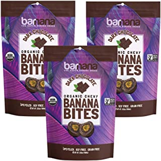 Organic Dark Chocolate Chewy Banana Bites - 3.5 Ounce (3 Count) - Delicious Barnana Coated Potassium Rich Banana Snacks - Lunch Dinner Sports Hiking Natural Snack - Whole 30, Paleo, Packaging May Vary
