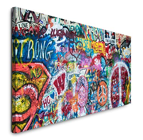 Paul Sinus Art GmbH Bunte John Lennon Wand in Prag 120x 50cm Panorama Leinwand Bild XXL Format Wandbilder Wohnzimmer Wohnung Deko Kunstdrucke