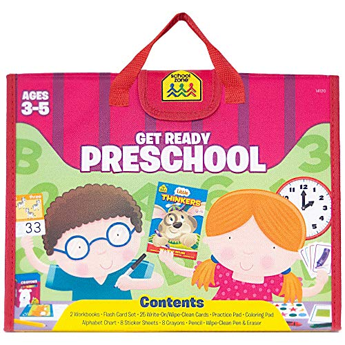 School Zone - Get Ready Preschool Learning Playset - Ages 3-5, Workbooks, Flash Cards, Write & Reuse, Coloring, Alphabet, Numbers, Shapes, Stickers, Carrying Case, Crayons, Pencil & Wipe-Clean Marker