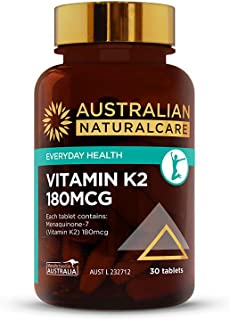 Australian NaturalCare - Everyday Health - 180mcg Vitamin K2 Tablets (30 Count)