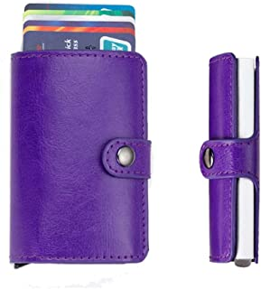 JUNDA Automatic Stainless Steel & Smooth PU Leather Credit Card Holder Case Wallet Business Name Card ID Card Case Purse Bag Organizer for Man and Woman,Purple