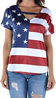 Han Shi Womens American Flag Print Blouse Hollow Out Short Sleeve T-Shirt Top for Patriotor