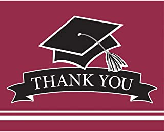 """Party Central Club Pack of 75 Burgundy and Black School Spirit Thank You Note 9.2"""""""