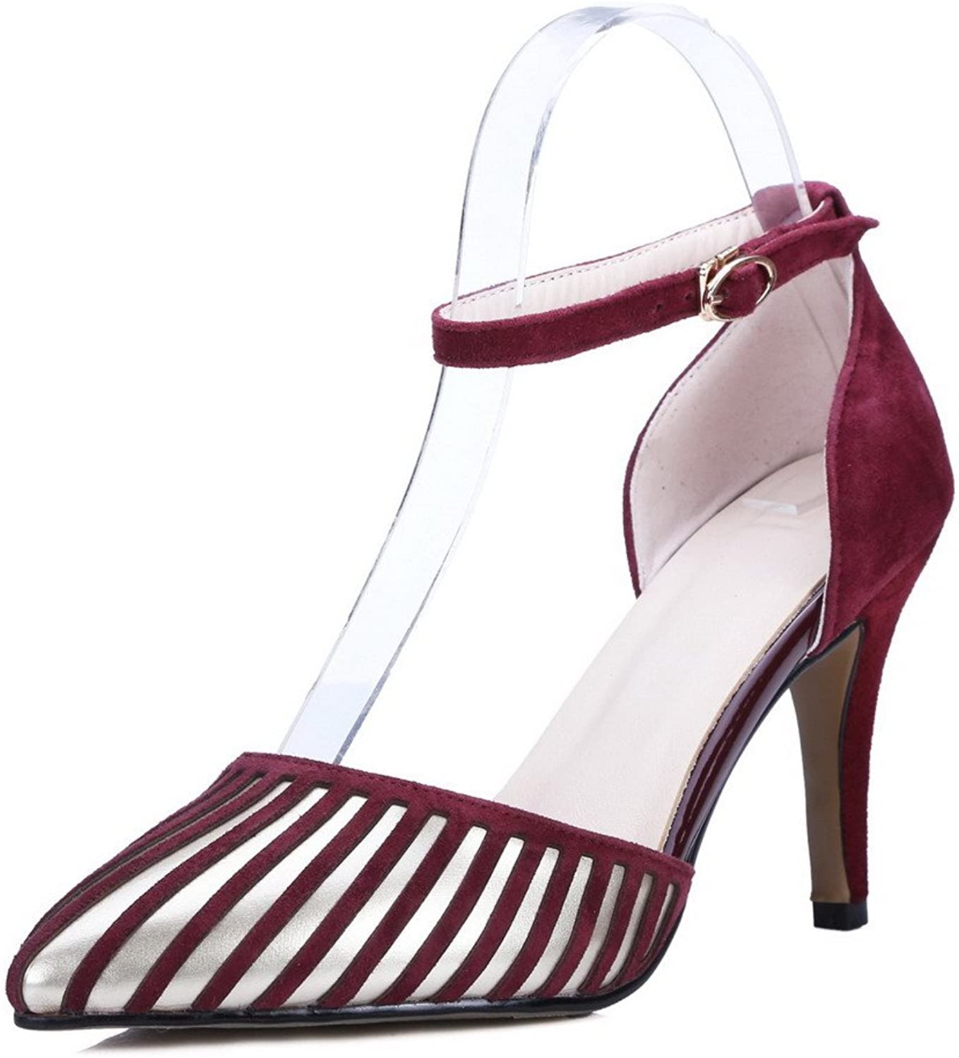 AmoonyFashion Women's Stripe Blend Materials Spikes Stilettos Pointed Closed Toe Pumps shoes