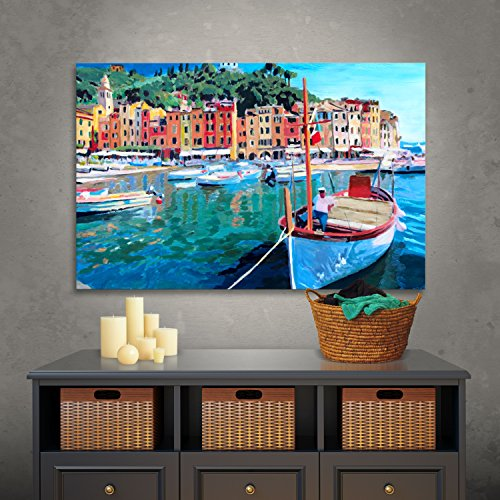 Art Wall 'Tranquility of The Harbour of Portofino' Gallery Wrapped Canvas Artwork by Markus Bleichner, 32 by 48-Inch