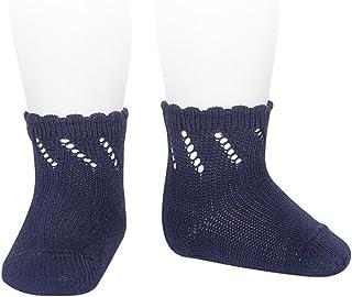 Condor, Cóndor Calcetines cortos de perlé para bebé con calado diagonal Azul marino, Talla 0 (6-12 meses)
