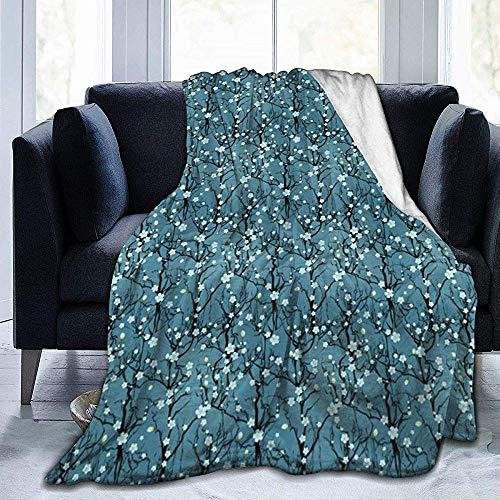 KL Decor Blankets, vintage, Japanse bomen, kersenbloesem, sterke drank plant, duurzaam, voor volwassenen, voor binnen, buiten, 102 x 127 cm