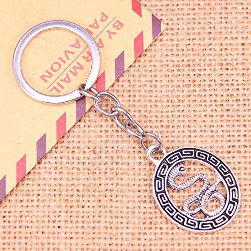 FGHHT Llavero de Moda 34 * 25 mm tótems de Serpiente Colgantes DIY HombresLlavero de Coche Soporte de Anillo Recuerdo para Regalo