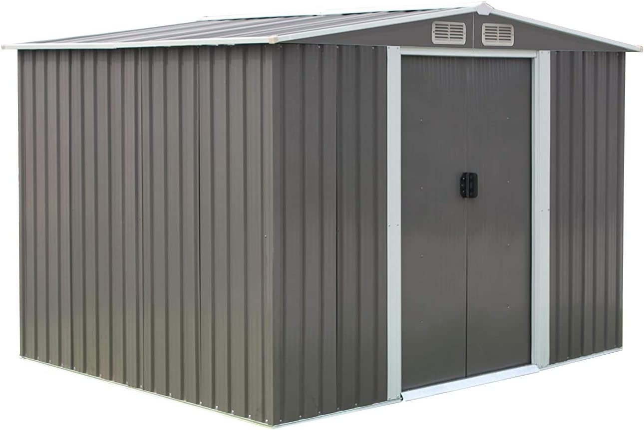 Garden Tool Storage Shed Outside Building Shed 8x6 Feet Outdoor House Shed with Sliding Door for Backyard Garden Lawn