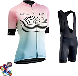 Cycling Jersey Women Short Sleeve + 19D Gel Padded Shorts MTB Sportswear Summer Breathable Quick-Dry for Outdoor Sport,A,4XL