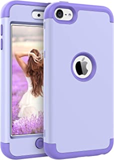iPod Touch 7 Case, iPod Touch 6 Case, BENTOBEN 3 in 1 Hybrid Hard PC Cover Soft Rubber Heavy Duty Rugged Bumper Shockproof Anti Slip Protective Case for Apple iPod Touch 5th/6th/7th Generation Purple