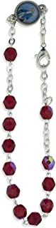 Vatican Imports Crystal One Decade Rosary Bracelet (Ruby)