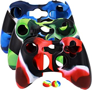 Soft Silicone Cover Case Camo Skin for Xbox 360 Controller with 4 Thumb Grip Caps(3 Colors)