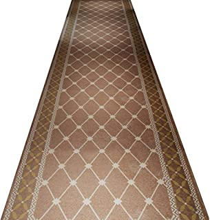 Area Rug Hallway Runner Rugs Trellis Pattern High Density Thickness 8mm Knitting Non-Woven Bottom Wear-Resisting Durable Vacuuming (Color : Light Brown, Size : 1.4m x 5m)