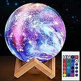 15cm Lámpara Galaxia 3D,16 colores Lámpara de Luna con Control Remoto y Control,USB Luz de noche recargable Lámpara de mesa LED,regulable,para Fiesta de cumpleaños de Navidad para niños