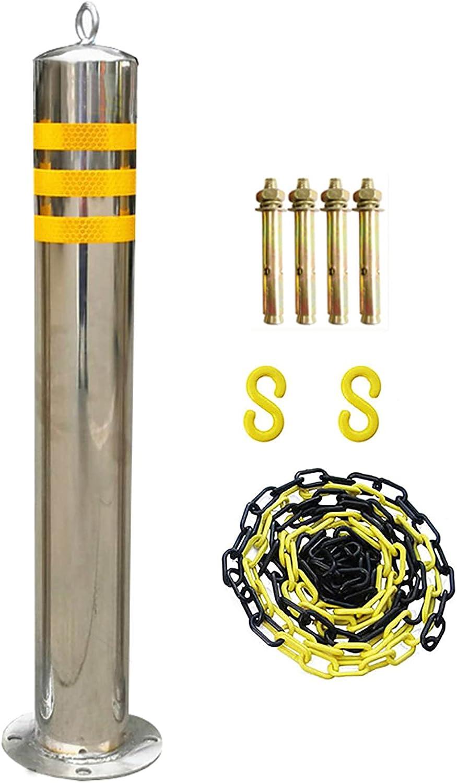 Bolardos Metalicos Para Poner Cadenas Bolardos De Aparcamiento Para Entrada, Barrera De Estacionamiento Reflectante Para Entrada, Conos De Tráfico De Acero Inoxid(Size:800×89mm/31.5×3.5in,Color:Plata)