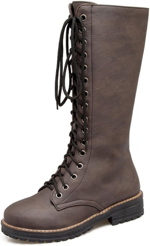 JOJONUNU Women Lace Up Mid Calf Boots