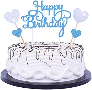 """YUINYO Happy Birthday Cake Topper letters""""happy birthday""""and love star"""",bule and Silver Party Decorations Birthday Supplie..."""